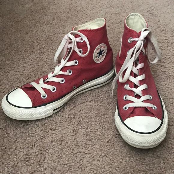 5736ae4ff793 Converse Shoes - Dark Red Converse High Tops